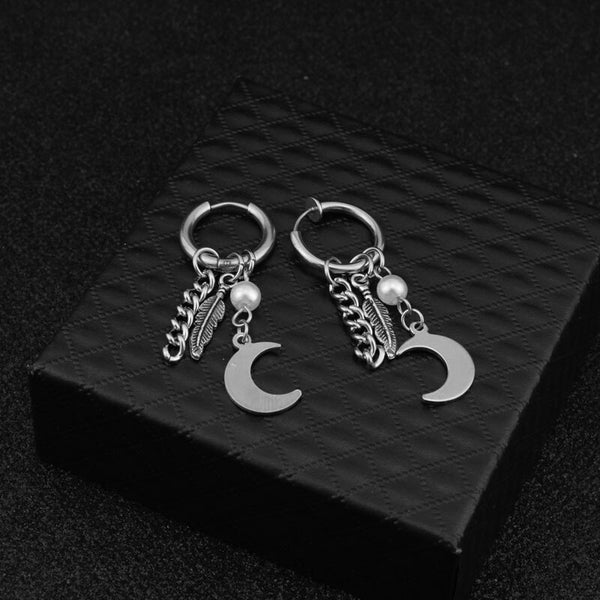 Stainless Steel Fashion Pendant Earrings Men Hoop Earrings