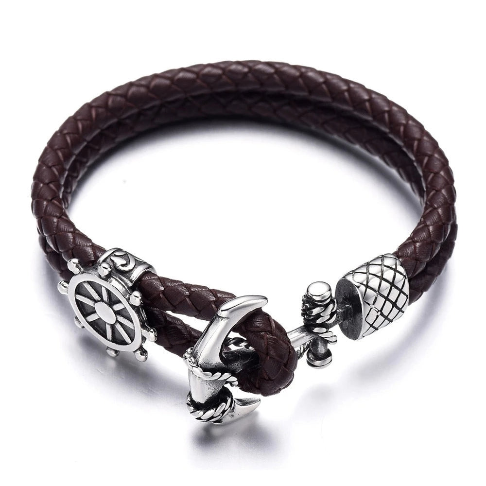Anchor Clasp 316L Stainless Steel Nautical Braided Leather Men Bracelet