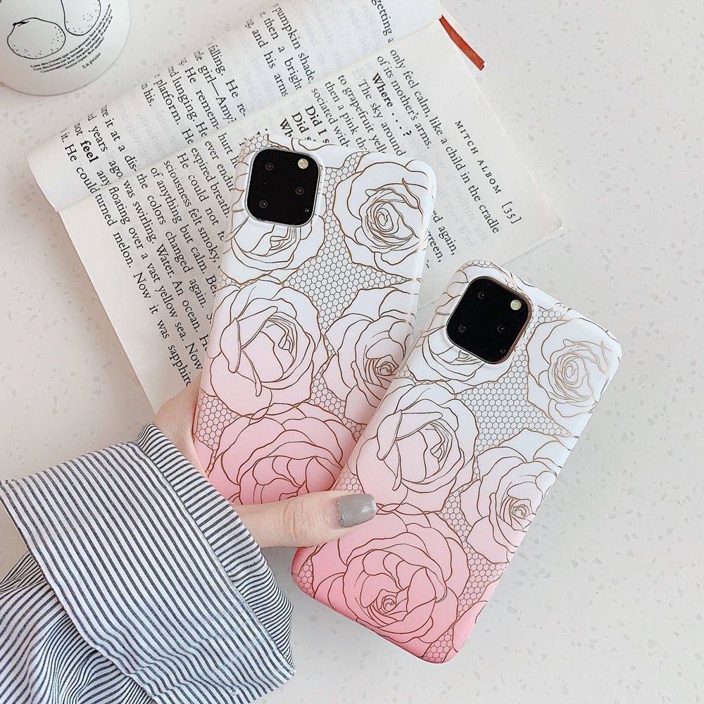 Gold Phone Cases Shiny Rose Flowers Cover For iPhone 11 Pro MAX