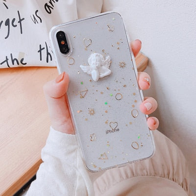 Lovely Angel Glitter iPhone Case Transparent Mobile Phone Cases