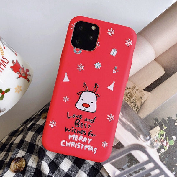 Cute Cartoon Christmas Phone Cases Santa Claus Snowman iPhone Case