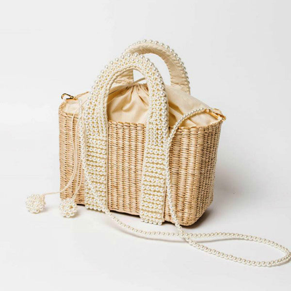Fashion Pearls Handle Women Handbags Designer Beaded Straw Bags