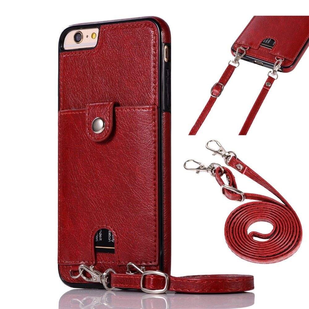 Vintage PU Leather Back Case for iPhone Wallet Card Case With Strap