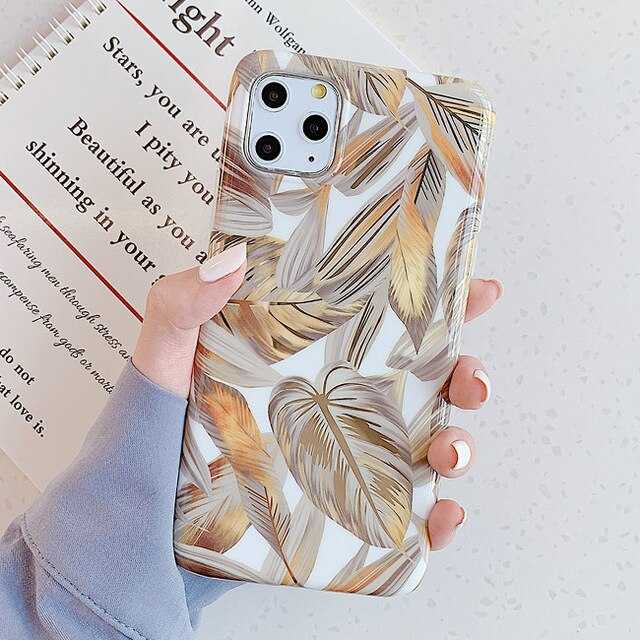 Luxury Plating Banana Leaf Gold Phone Cases For iphone X XS MAX XR