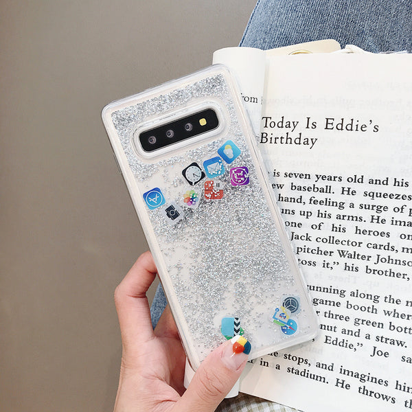 Cute Application Icons Dynamic Liquid Transparent Quicksand Samsung Cover  Glitter Emoji Case cool trendy fun funny new unique protective samsung Fashion Mobile Application Icons Phone Cover for Samsung Note 10+ Dynamic Liquid Quicksand Case for Samsung S20 Ultra S9 S8 S10+