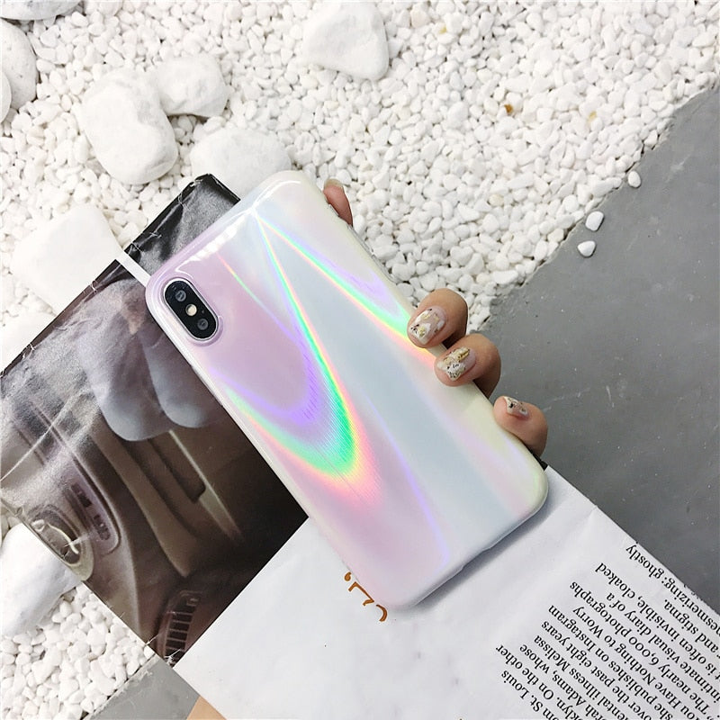 Apple iPhone Holographic Aurora Laser Marble Case
