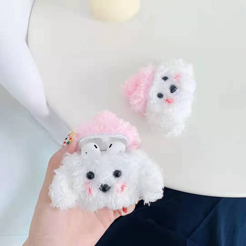 Japan 3D Cute Earphone Case Plush Puppy Chip Apple AirPods Headset Set