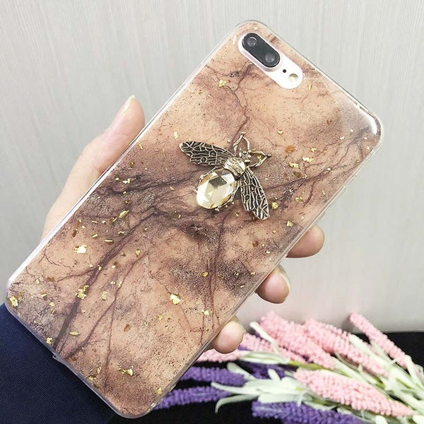 Gold Foil Bling iPhone Marble Case Bee Design Phone Cover