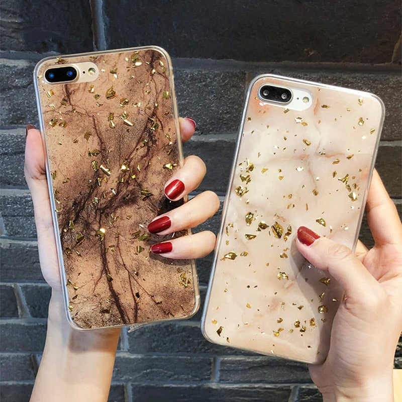 Luxury Gold Foil Bling Marble Phone Cases For iPhone