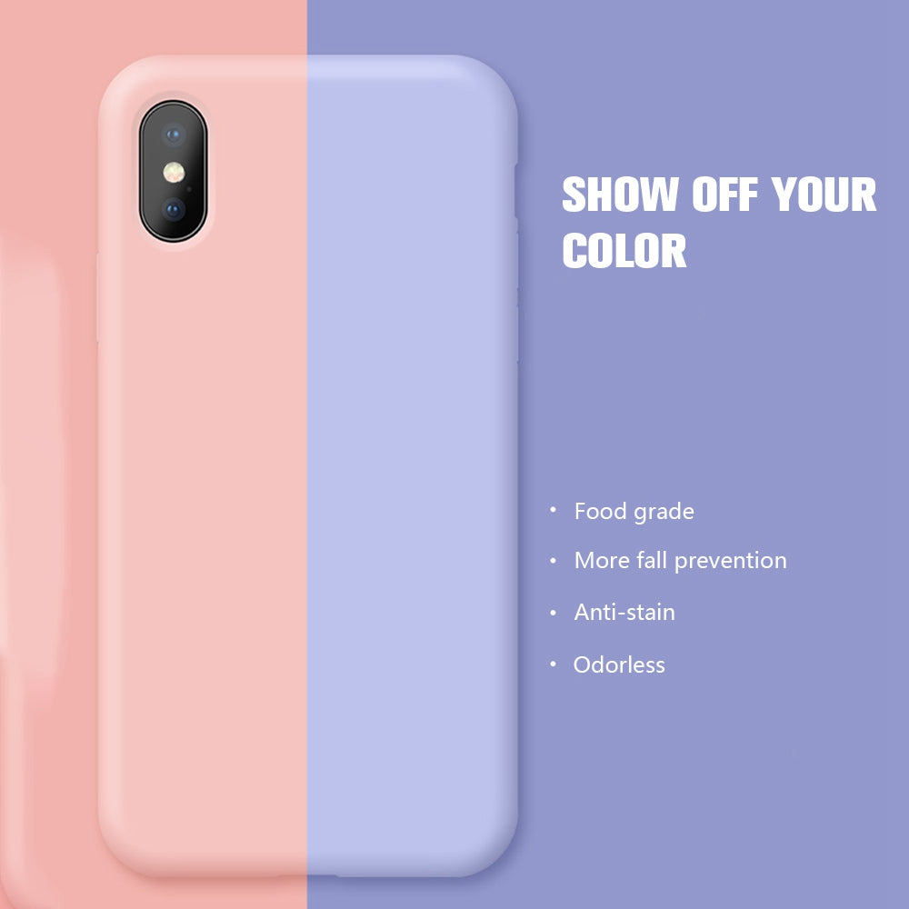 Candy Color Liquid Silicone Cover Microfiber Simple Matte iPhone Case