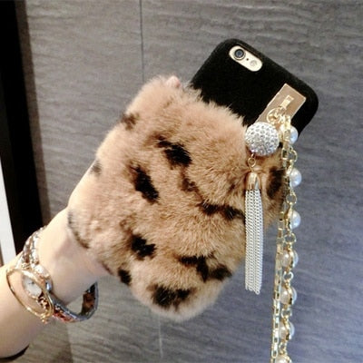 iPhone Cover Luxury Diamond Rabbit Fur Fall Phone Case