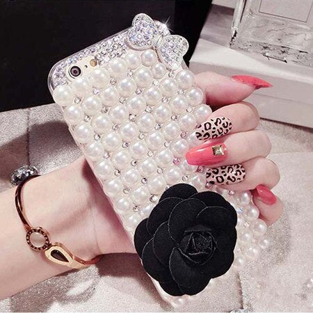 Pearl Rhinestone Diamond Crystal Glitter Phone Case luxury IPhone Case