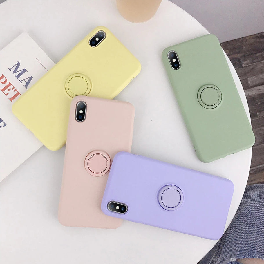 Cute Phone Cases Candy Color iPhone Cover & Finger Ring Silicone Cases