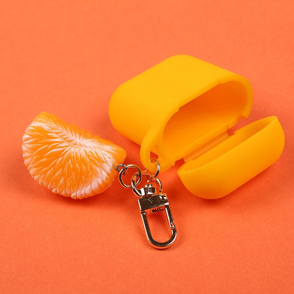 Cute Funny Orange Decorative Silicone Case for Apple Airpods Protective Cover