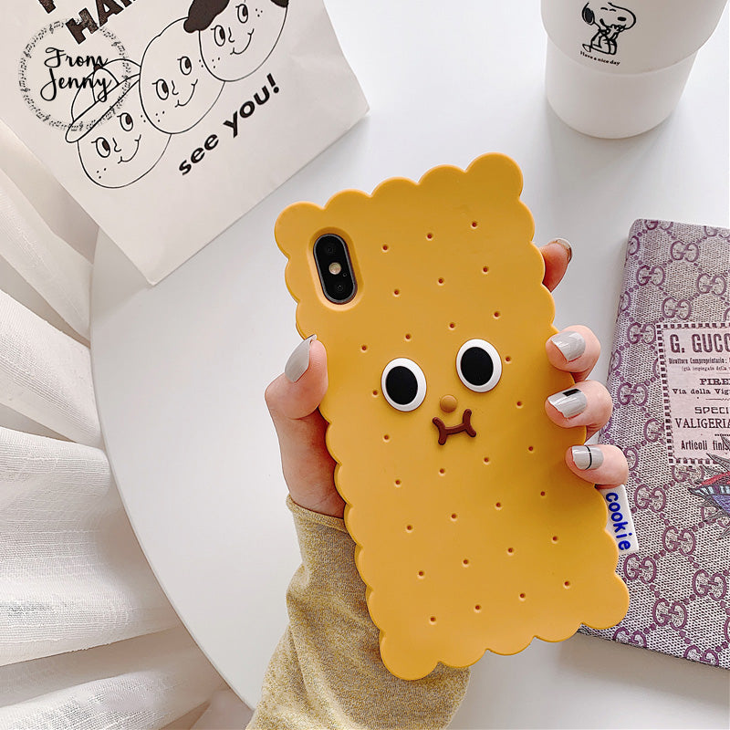 Cute Cookies Phone Case Simple Solid Color Silicone iPhone Cases