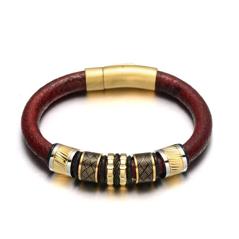 Elegant Red Cowhide Leather Bracelet Black Gold Stainless steel Beads Matte Button Clasp Bracelets Bangles Male Jewelry