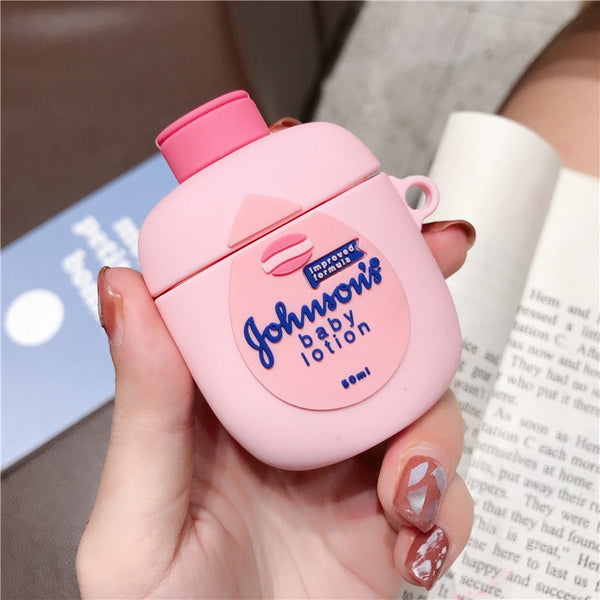 Cute 3D Cartoon Baby Lotion Pink Apple Airpods 1/2 Case