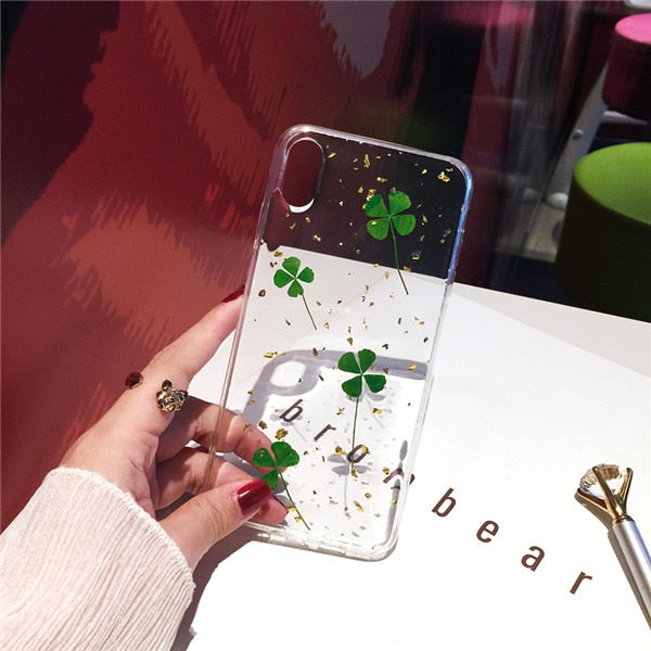 Green Lucky Clover Plant Real Dried Leaf iPhone Case