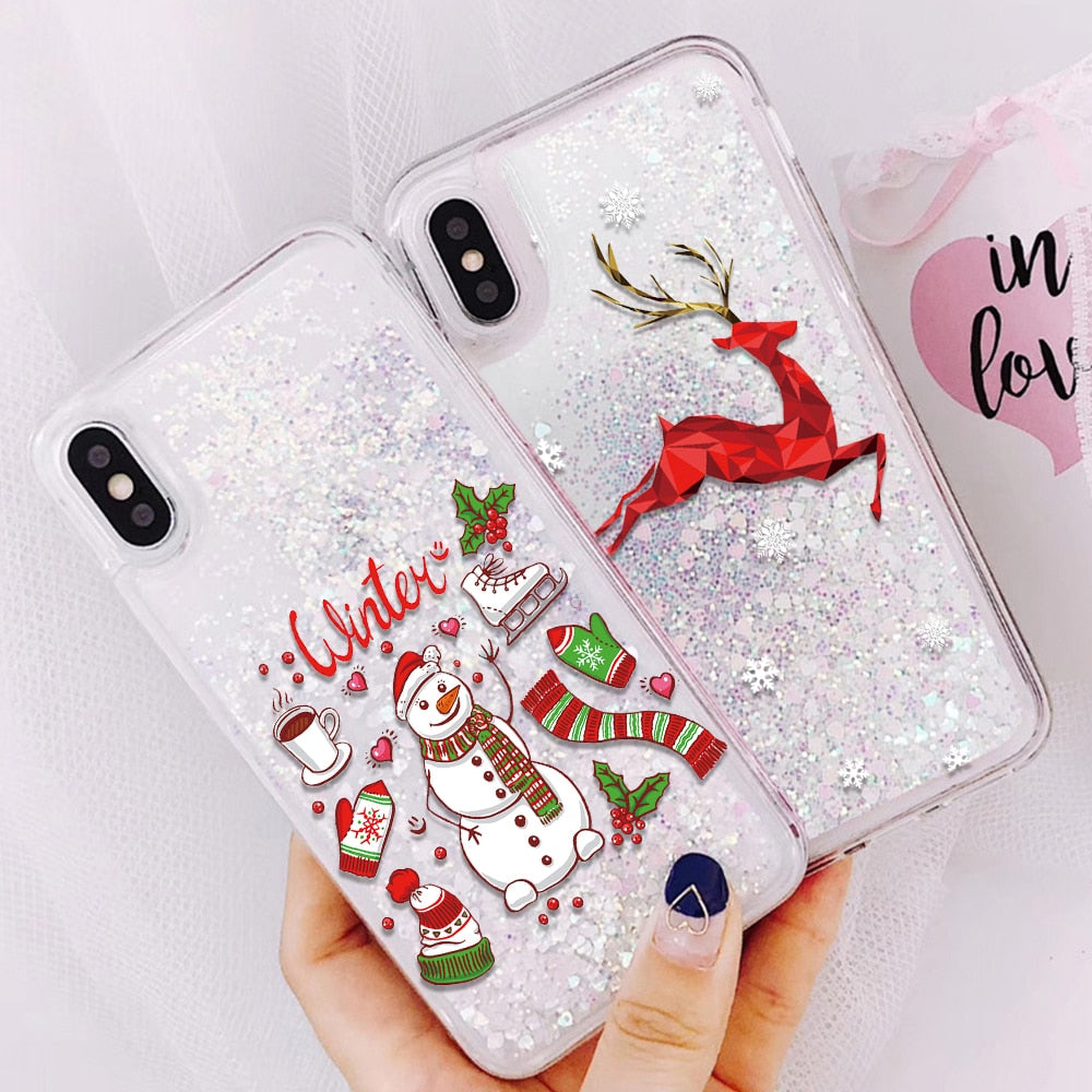 Glitter Quicksand Case iPhone X XR XS MAX Christmas Winter New Phone Cover