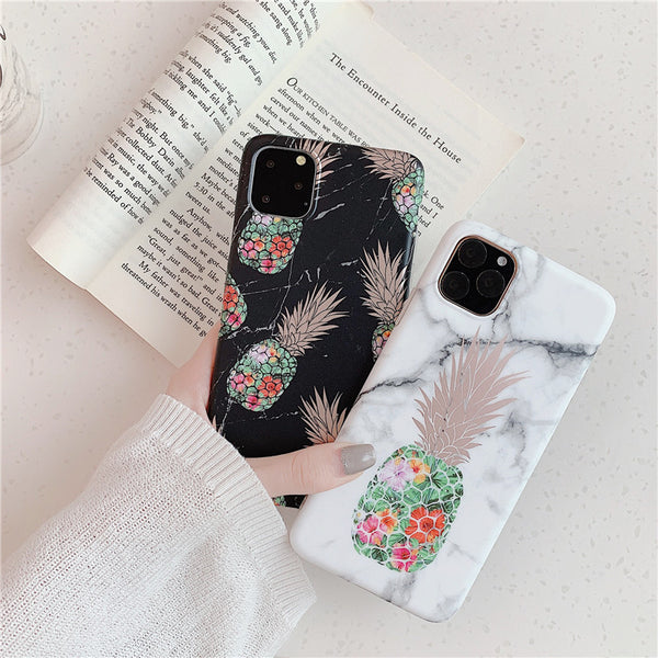 Ring Stand Pineapple Marble Case Soft Silicone iPhone Cases