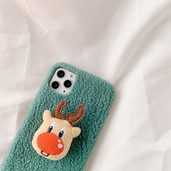 Autumn Winter Santa Claus Solid Color Plush iPhone Protective Case
