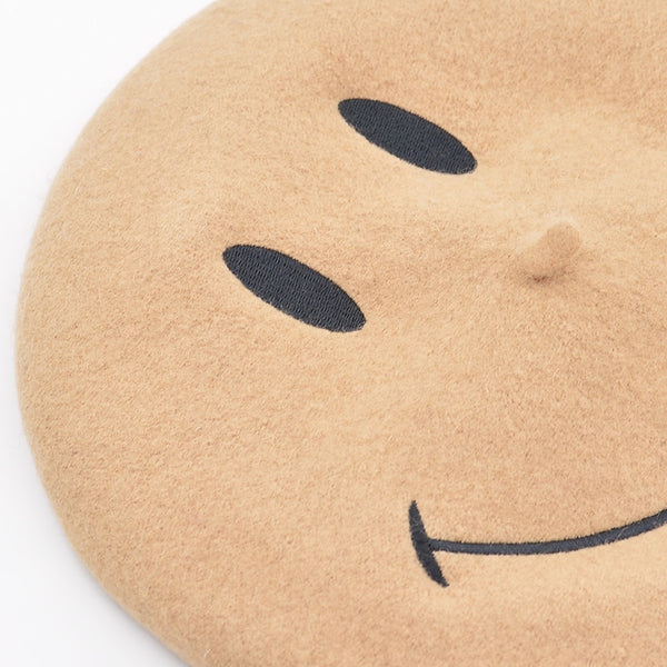 Painter Hat Embroidered Smiley Face Wool Beret Winter Hats For Women