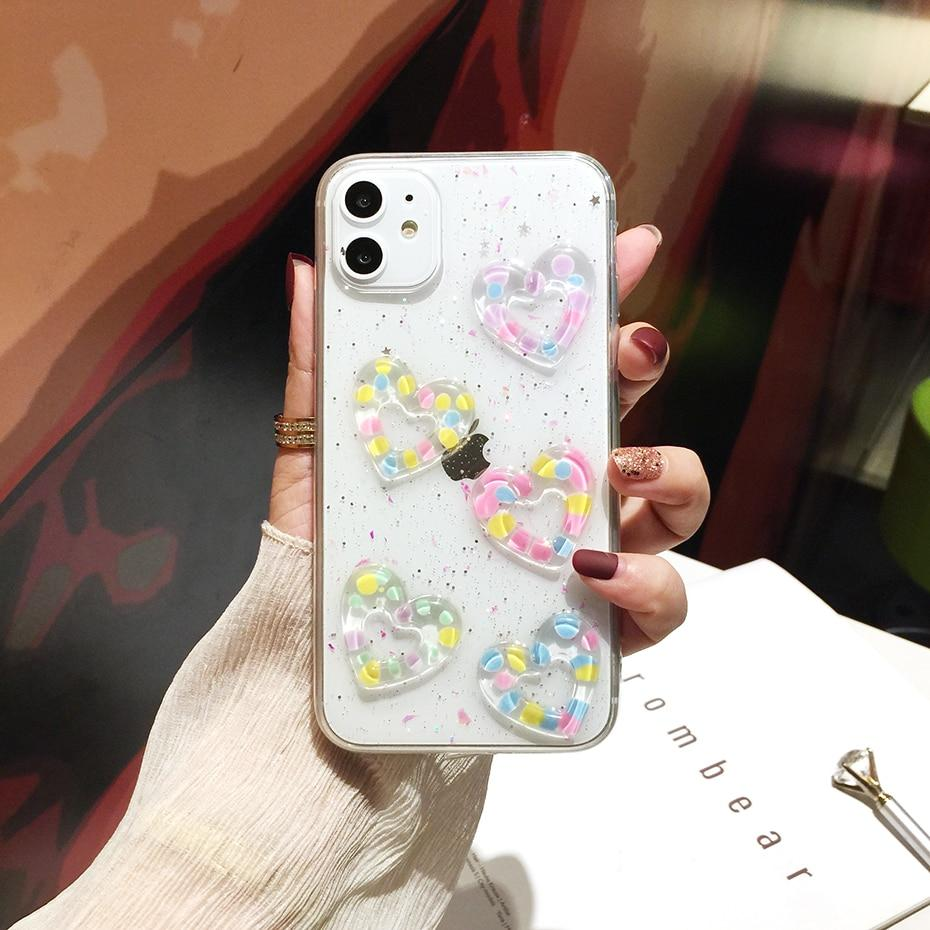 NEW 3D Cute Heart Glitter Phone Case for iPhone 11 Pro Max X XR XS MAX