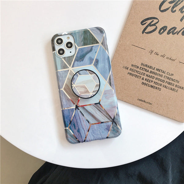 Silicone Geometric Triangles Abstract Gold Marble Soft Cover For iPhone X XR XS Max 6S 7 8 Plus