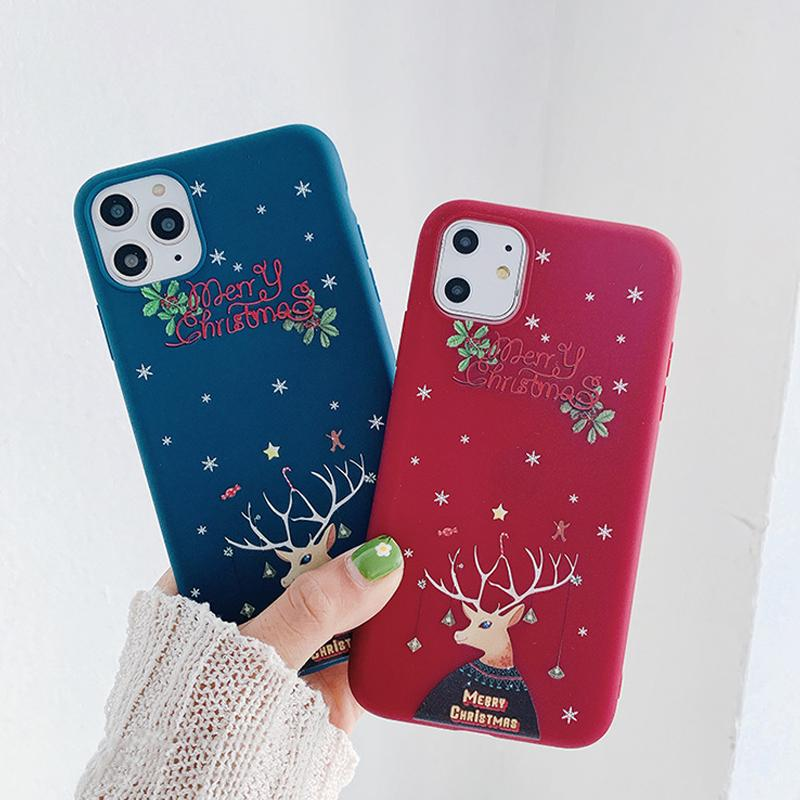 Christmas Elk for iPhone 11 Pro Protective Soft Cute Cartoon Phone Case