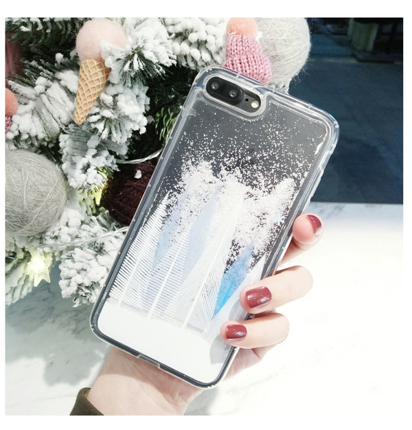 Luxury Glitter Snowflake iPhone Case 3D Dynamic Liquid Transparent Phone Case
