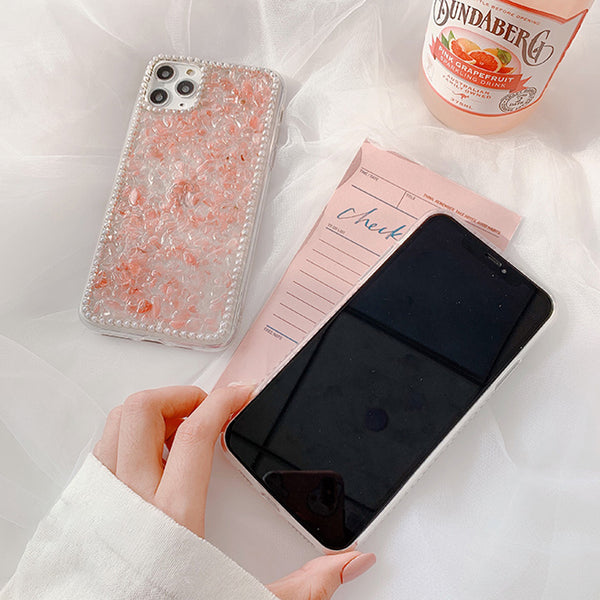Pink Crystal iPhone Case Three-Dimensional Pearl Mobile Phone Cases