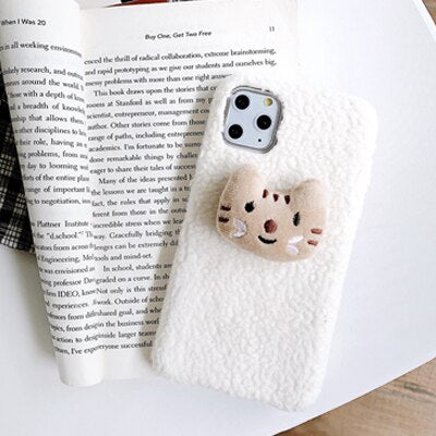 Plush Stereo Cat Cute iPhone Case Cartoon Animal Winter Warm Phone Cover