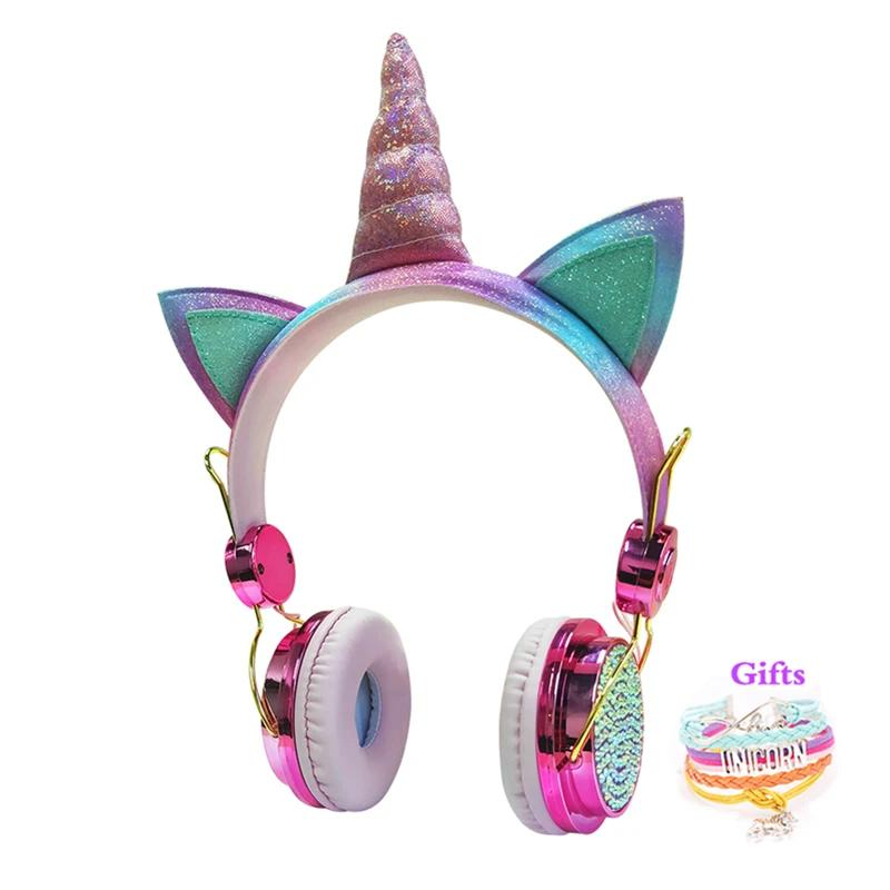 Cute Unicorn Wired Headphones With Microphone Music Stereo Earphone
