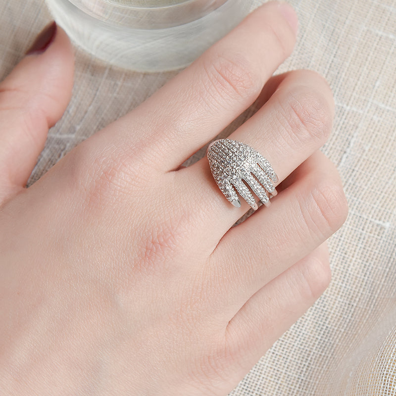 New Rhinestone Rings For Women Unique Hand Shape Adjustable Open Ring