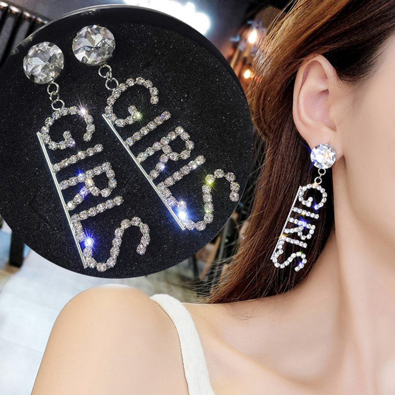 Letter Big Rhinestone Earrings Women Temperament Long Statement Jewelry Gift