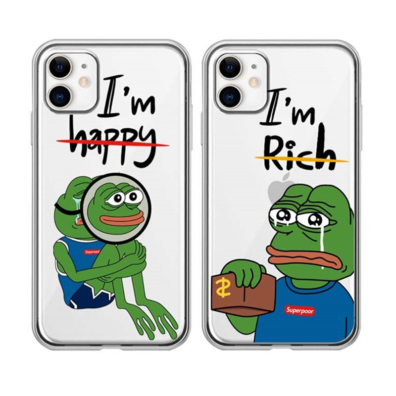 Funny Cartoon Phone Cases Cute Pepe Memes Case For iPhone