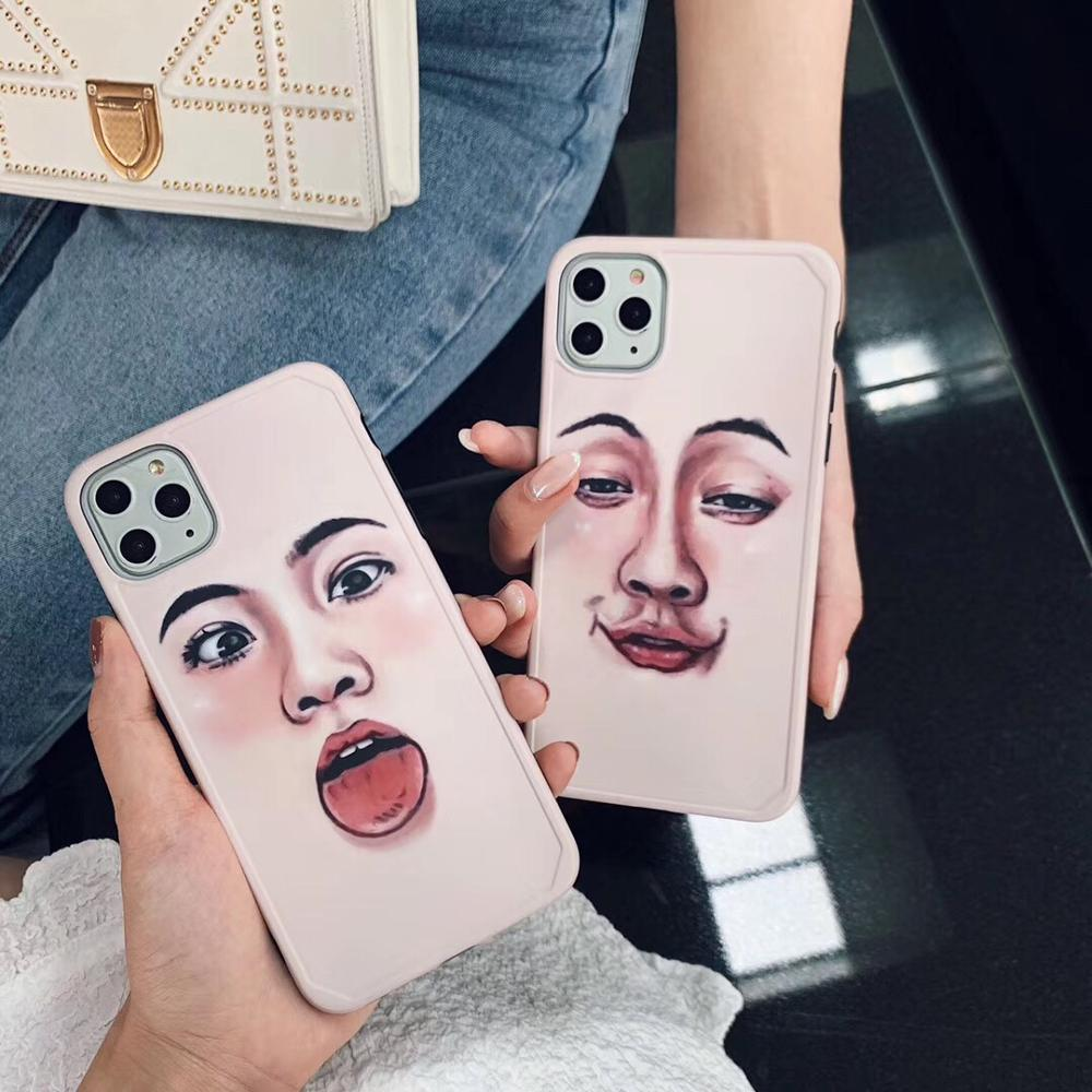 Funny Cartoon Human Face Couple Girl Soft Phone Case for iphone Series