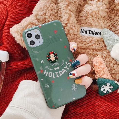 Christmas Elk Phone Case Cute 3D Santa Claus Glossy iPhone Cases