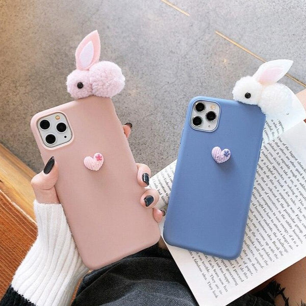 3D Rabbit Love Phone Case Cute Apple iPhone Silicone Cover