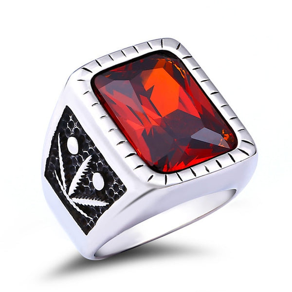 Fashion Unique Design Vintage Red Stone Black Rings For Men LABONNI