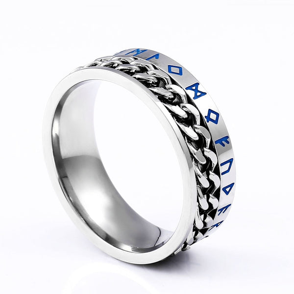 Norse Viking Symbol Stainless Steel Cuban Link Rotating Spinner Ring LABONNI
