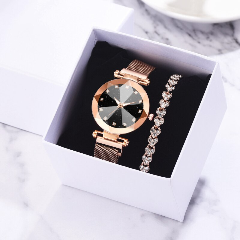 2pcs/Set Luxury Women Watches Magnetic Starry Sky Wrist Watch Gift