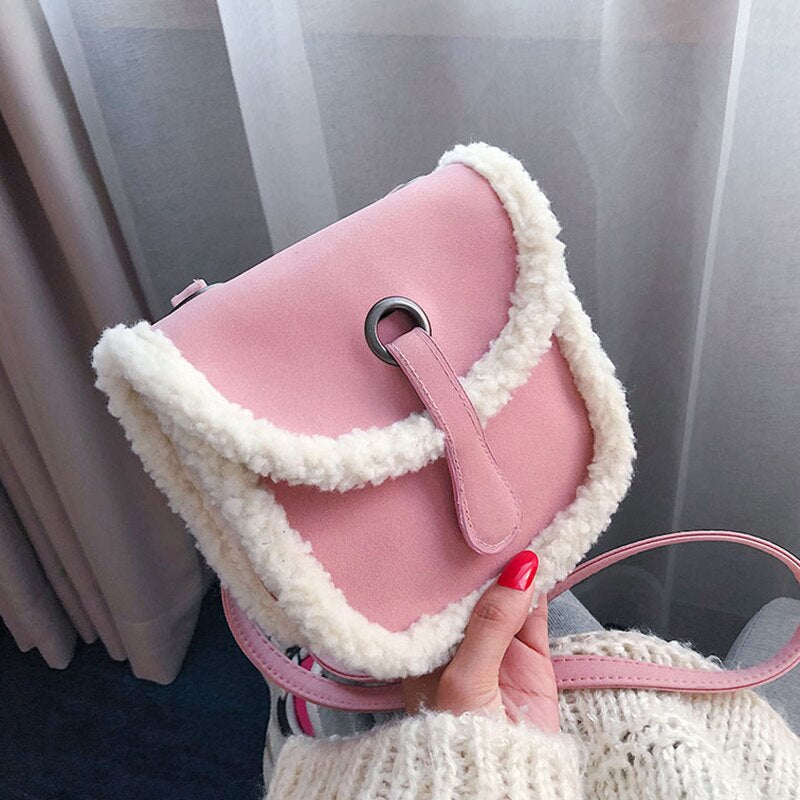 Cotton Wool Design Lovely Crossbody Bags Winter Mini Shoulder Bags
