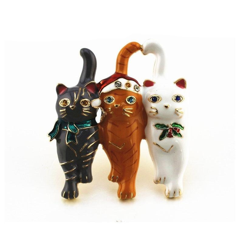 New Three Christmas Cat Brooches Cute Animal Lapel Pin