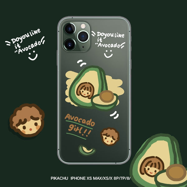 Avocado Girl Mobile Phone Back Cover Embossed Transparent iPhone Cases