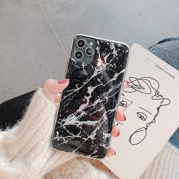Unique Glitter Laser Marble Case Bling Powder Silicon iPhone Case