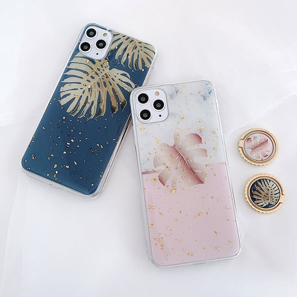 Marble Phone Case Tropical Leaf Flower iPhone Case With Ring