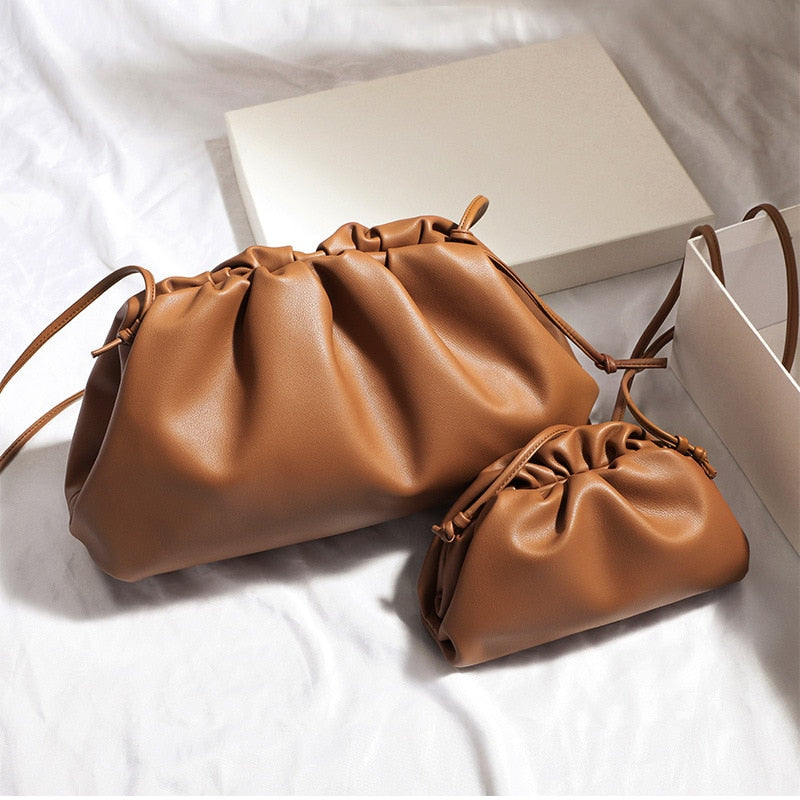 Cloud Crossbody Bags for Women Clutch Purse with Dumpling Shape and Ruched Detail High-Quality Fashion Luxury Designer Lady Large Handbag soft folds envelope unique design 2020 Camel Brown