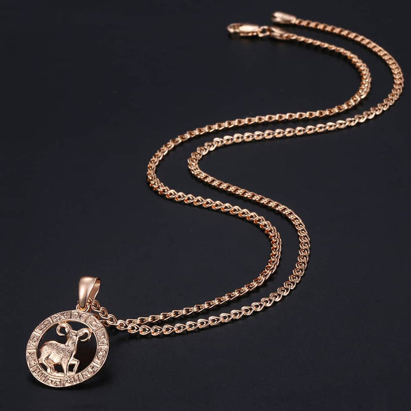12 Zodiac Sign Constellations Pendant Rose Gold Necklace
