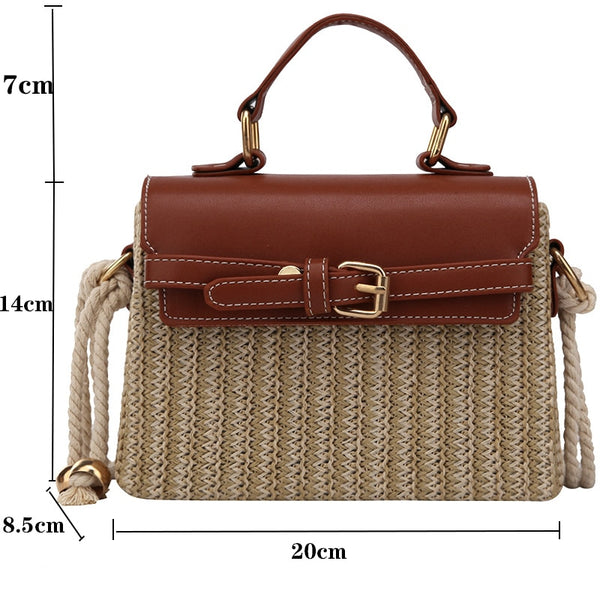 Bohemian Straw Bag Retro Woven Crossbody Box Flap Tote
